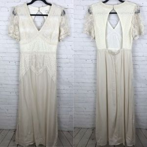 Soieblu Women Dress Cream Lace Ivory Full Length S